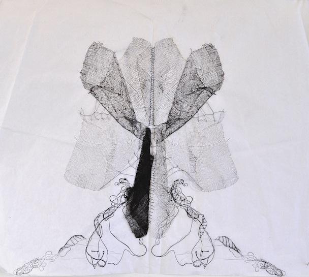 Metamorfosi in chiusura, garza, inchiostro e filo su carta velina, 35x45 cm, 2013