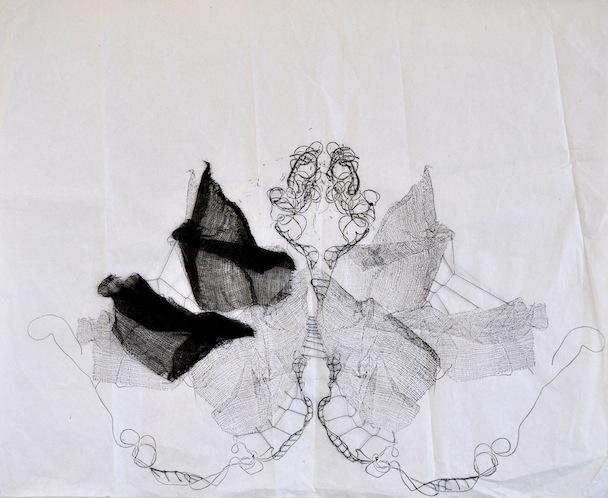 Metamorfosi in raccolta, garza, inchiostro e filo su carta velina, 35x45 cm, 2013