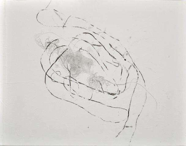 Eva Reguzzoni, I pesi nel profondo, sopportazione, inchiostro su carta velina 35x45 cm, 2013
