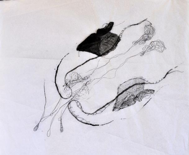 Le simbiosi del pensiero, garza, inchostro e filo su carta velina, 35x45 cm, 2013