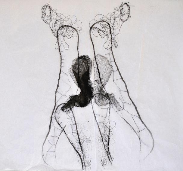 Le simbiosi del ricordo, garza, inchiostro e filo su carta velina, 35x45 cm, 2013