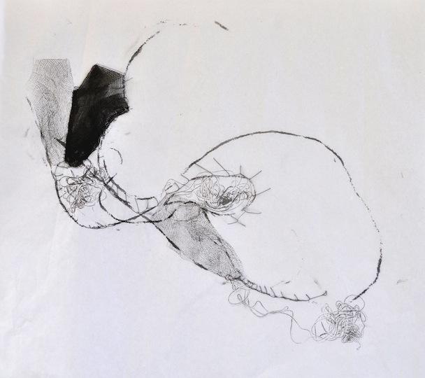Eva Reguzzoni, Le simbiosi interne, garza, inchiostro e filo su carta velina, 35x45 cm, 2013