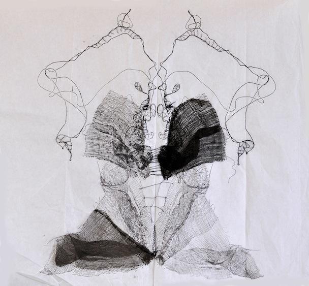 Metamorfosi in apertura, garza, inchostro e filo su carta velina, 35x45 cm, 2013