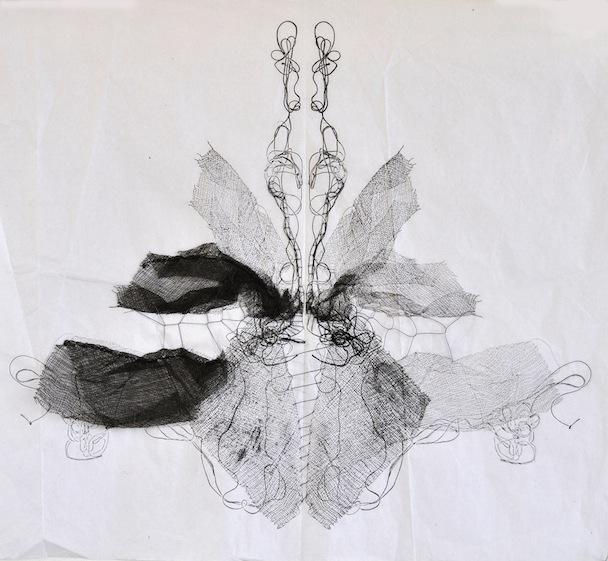 Metamorfosi in allungamento, garza, inchostro e filo su carta velina, 35x45 cm, 2013
