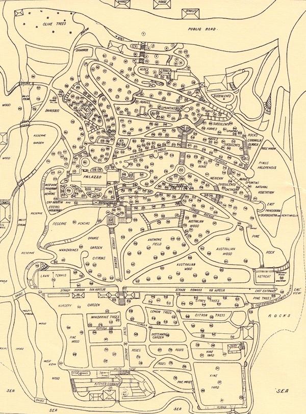 Planimetria dei Giardini Hambury (primi del '900)