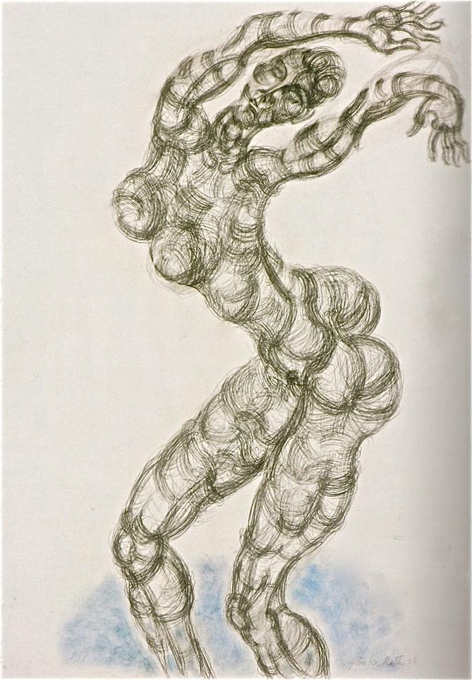 Günter Roth, Gessetto e carboncino su carta, 2004