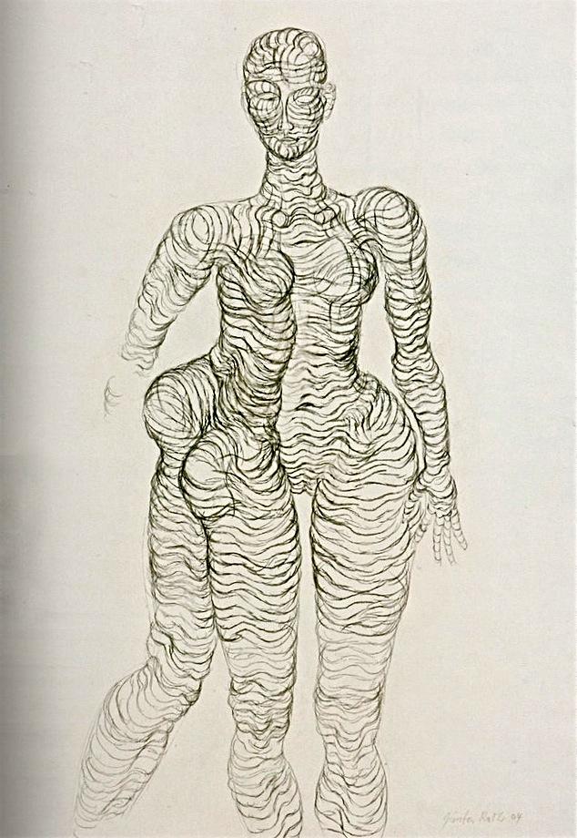 Günter Roth, carboncino su carta, 2004