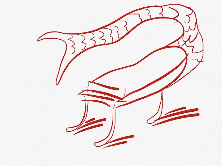 Un pianoforte a coda di pesce per Arrigo Cappelletti, disegno di Lupo Borgonovo, 2014