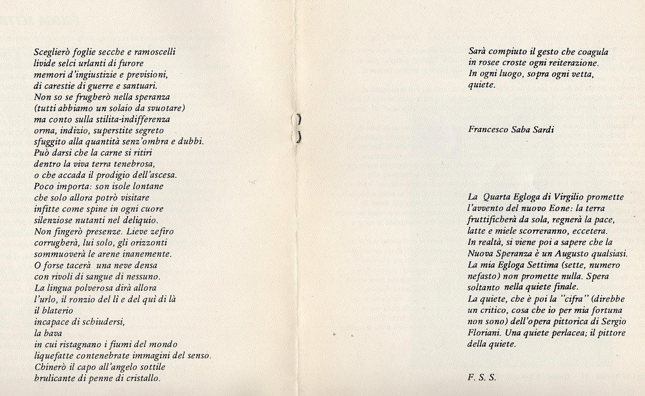 Francesco Saba Sardi, Egloga settima, 1981