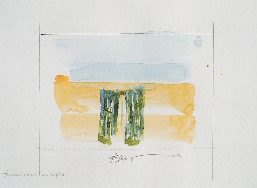 ©Alfonso Frasnedi, Tenue come un respiro, matita e acquerello su cartoncino, 2003