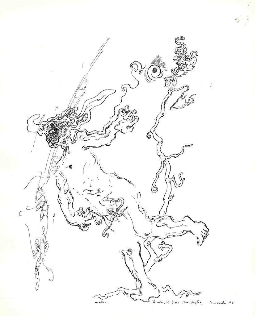 Tancredi, Facezie, Il sole, il fiore, tra foglie, 1960 © Galleria Schwarz